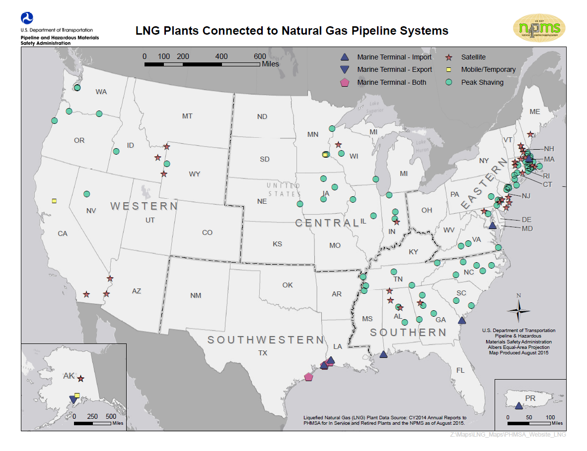 PHMSA LNG Brief History - Map of us time zones black and white